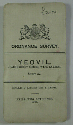 1908 Old Antique OS Ordnance Survey Half-Inch Map 37 Yeovil - Layers Large Sheet