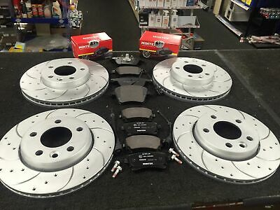 Vw Transporter T5 T32 Drilled Curved Grooved Brake Discs Mintex Pads Front Rear