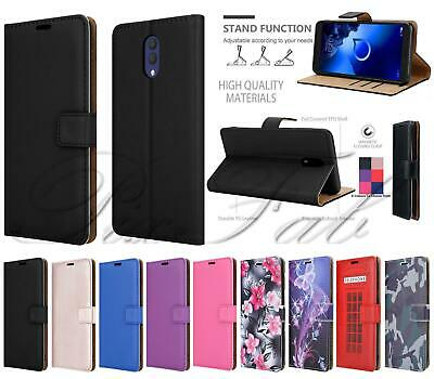 For Alcatel 3L (2019) 5039D Genuine Black Pink Leather Wallet Phone Case Cover