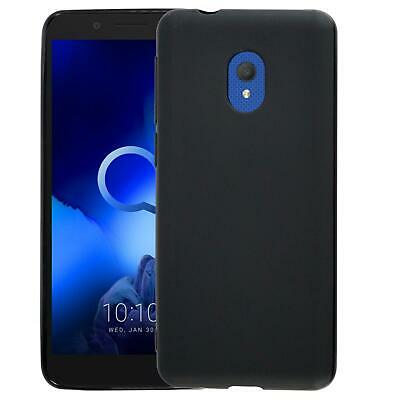 For Alcatel 1C 2019 5003D Black Gel Silicone Phone Case Cover + Screen Protector