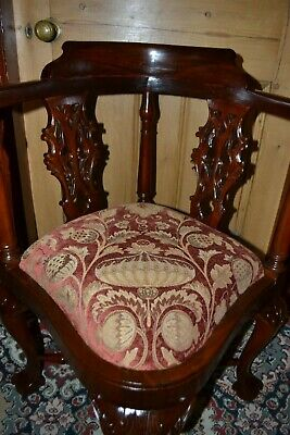 Solid Mahogany Chippendale Style Ball and Claw Corner Chair