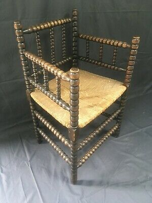Antique 19thC Bobbin Armchair Woven Rush Chair