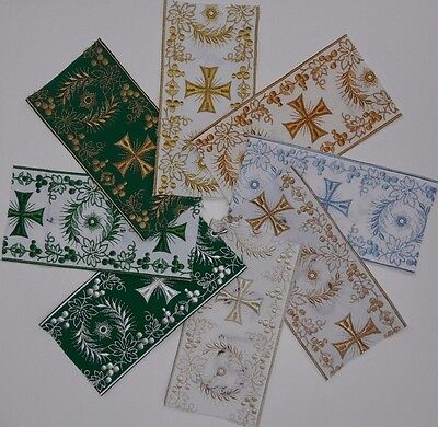 """Christian Cross Design 4"""" Embroidered Banding USA Made Assorted Colors 1 Yard"""