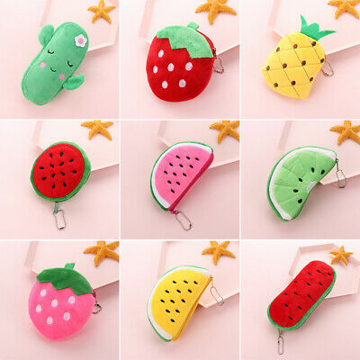 Watermelon Strawberry For Women Girls Wallet Coin Pouch Plush Coin Purses