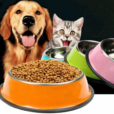 Pet Round Bowl Cat Dog Eating Food Bowls Stainless Steel Non-slip Feeder
