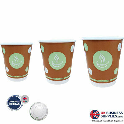 8oz / 10oz / 12oz Belgravia Bio Double Walled Cups With or Without Lids