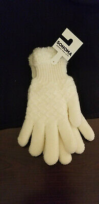 New Women Kohl's Sonoma Solid Ivory Cream Knitted Gloves One Size Fits All