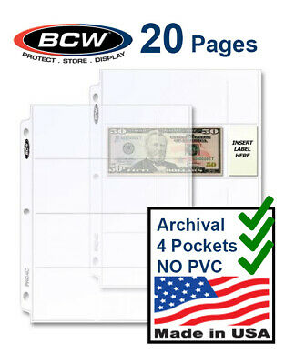 20 BCW 4 Pockets Page For Modern Regular Currency Bill Dollar For 3 Rings Binder