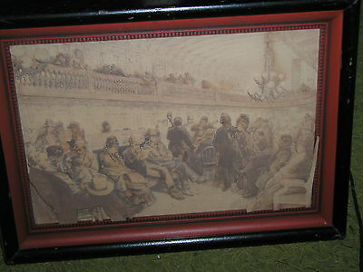 """Antique 3-D Raised cut paper Litho Shadowbox titled """"The Steamer"""" by L. Hampel"""