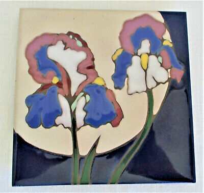 Triton Tile Iris Design Hand Painted USA Wall Art, Hot Plate, Trivet