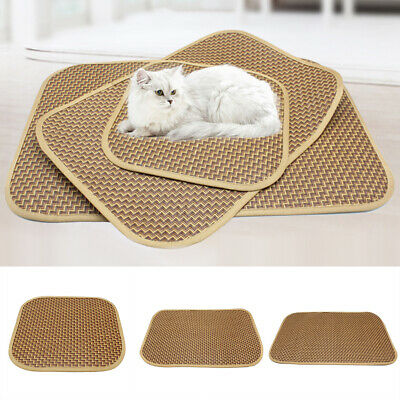 GI- Pet Cat Dog Bed Mat Summer Cooling Sleeping Pad Comfortable Straw Cushion La