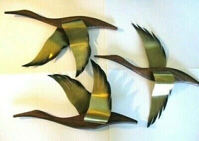 3 Vintage Mid Century Wood Brass Flying Geese Birds Set Wall Decor