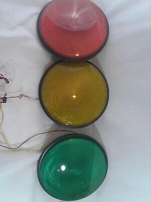 "12"" LED Traffic Stop Lights Signal Set of 3 Red Yellow & Green Gaskets 120V ..-"