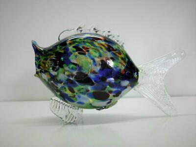 Vintage Murano Fish Sculpture Speckled Multi Color Wide Mouth Large
