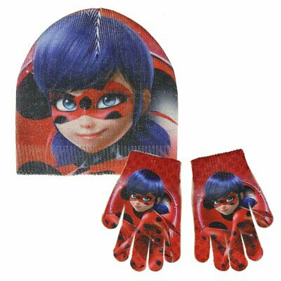 Miraculous Ladybug Glitter Effect Children's Set Includes Hat and Gloves