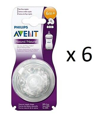Philips AVENT BPA Free Natural Fast Flow Nipples, 2 ct (6 Pack)