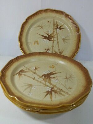 Lot of 4 MIKASA E8014 Dinner Plates Bamboo Grove Whole Wheat Butterfly GUC