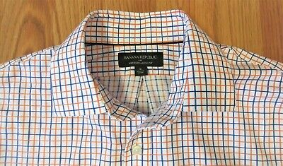 BANANA REPUBLIC CLASSIC FIT Mens 100% COTTON SHIRT WHITE TATTERSALL Sz SMALL, S