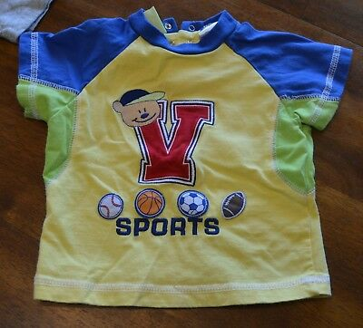Duck Duck Goose Boys size 12 months Yellow Short Sleeve Shirt with Sports