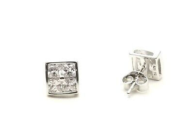 Genuine SOLID 925 STERLING SILVER PRINCESS SOLITAIRE ACCENT CUBIC STUD EARRINGS