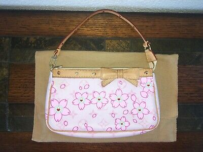 LOUIS VUITTON Monogram Cherry Blossom Bow Pochette Pouch Accessories Handbag