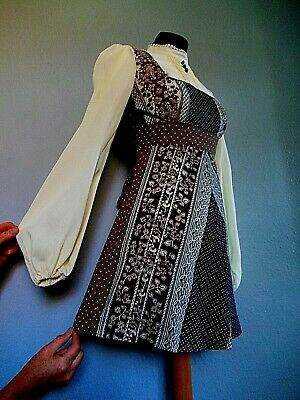 Vintage 60's 70's Size 8 Mod PSYCH Scooter POET Sleeved VICTORIANA  Dress 8