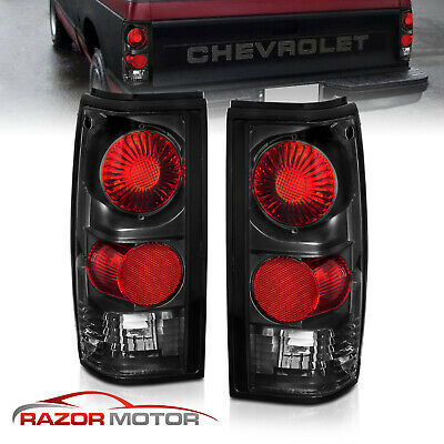 1982-1993 Chevy S10 Pickup/GMC Sonoma Truck Black Rear Brake Tail Lights Pair
