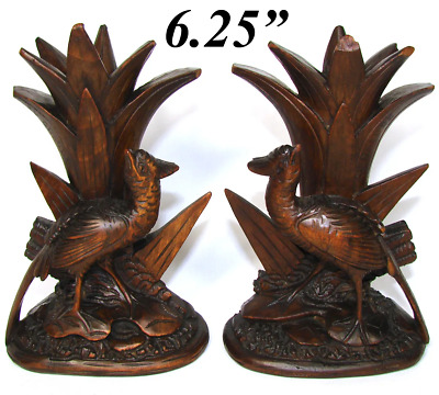 Antique Black Forest Carved Epergne Vase or Candle Stand Pair, Game Bird Figures