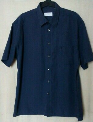 Yves Saint Laurent Short Sleeves Dark Navy Mens Casual Summer Shirt Size-XL