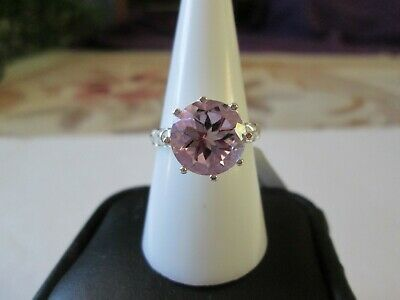 Rose De France Amethyst Ring Sterling Silver Ring TGW 4.45 cts.