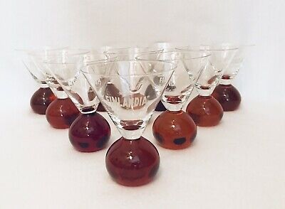 12 FINLANDIA VODKA oF ICELAND MARTINI HAND BLOWN BUBBLE FOOTED BASE BAR GLASS