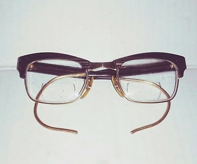Vintage 1940'S Bausch & Lomb 12kGF Eyeglasses FRAMES WIRE ARMS 48[]22[]140 GRAY
