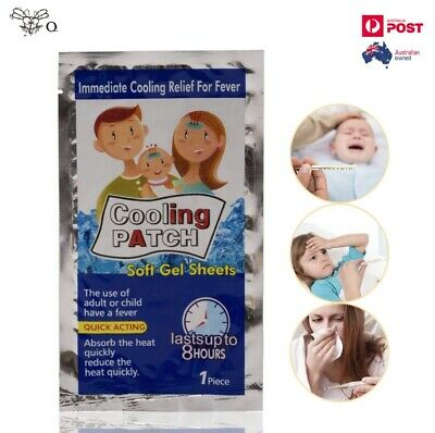 Fever Patch Cooling Gel Sheet for Headache Pain Relief Bring Fever Down x 2PCS
