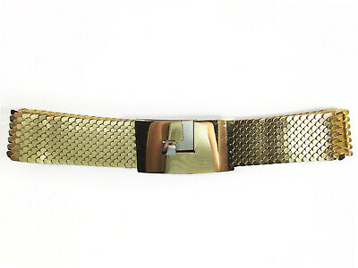 """Vintage 70s Gold Metal Fish Scales Stretch Belt Cardin-style Buckle Fits 27""""-30"""""""