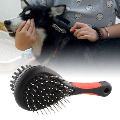 Double Pet Hair Brush Cleaning Tool Dog Cat Grooming Fur Comb Shedding Removal