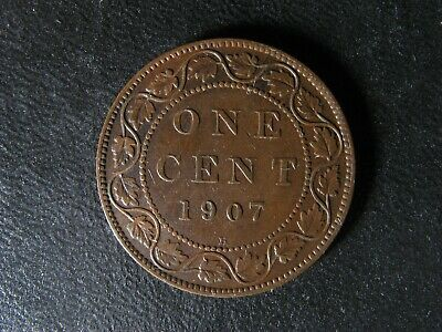 1 cent 1907H Canada one penny copper coin large King Edward VII c ¢ VF-20