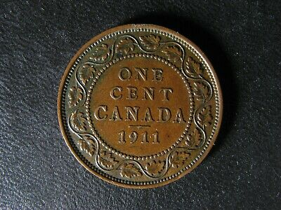 1 cent 1911 Canada one penny copper coin large King George V c ¢ VF-35