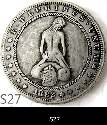 HOBO NICKEL ART-MORGAN Sexy couple USA Morgan Dollar HOBO COIN- S 45