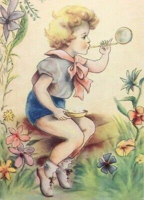 Stunning Vintage Postcard Young Girl Blowing Bubbles Field Garden Flowers
