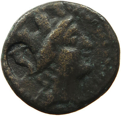 GREECE ANCIENT TURETED HEAD OF TYCHE  COUNTERMAKED Cornucopia 19MM 7.5G #t56 333