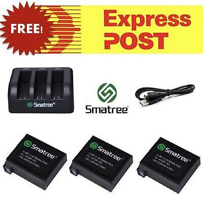 Smatree Battery Set Kit + USB Charger for GoPro HERO 3 4 5 6 7 Batteries Go Pro