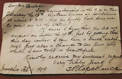 Signed by Jose Raul J.R. Capablanca Postcard mailed to Percy S. Benedict in 1909
