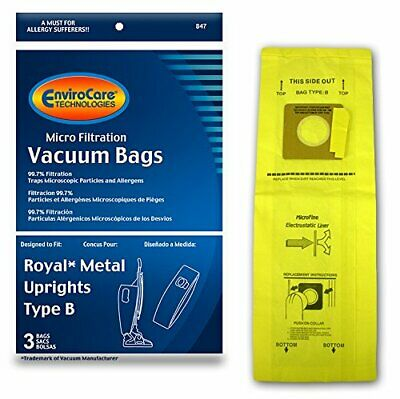 EnviroCare Replacement Micro Filtration Vacuum Bags for Royal Upright Type B 3pk