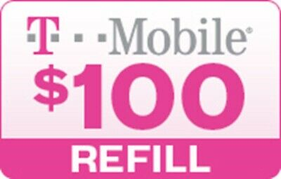 T-Mobile $100 Prepaid Refill Card, Air Time Top-Up/Pin RECHARGE Funds /Reload