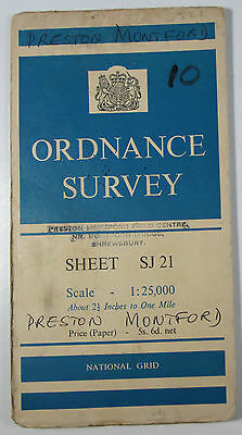 1959 old vintage OS Ordnance Survey 1:25000 First Series Prov Map SJ 21 Arddleen
