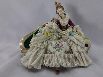 Antique Ackermann & Fritze Volkstedt Dresden Lace Woman On Couch #1828 Germany