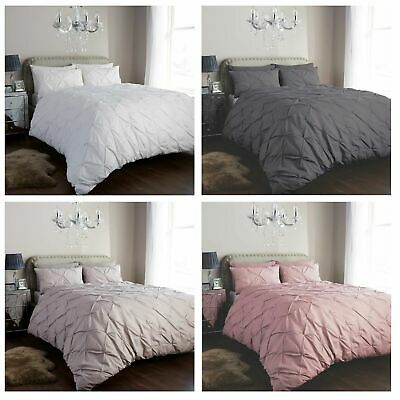 Pintuck Duvet Set Quilt Cover Single Double Super King Size Luxury Bedding Set