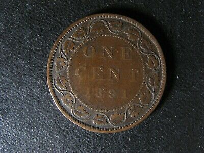 1 cent 1891 SL SD Obv. 3 Canada large one penny coin Queen Victoria c ¢ F-12