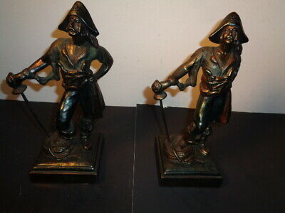 Rare Pair of Vintage Paul Herzel Signed Bronze Pirate Statue Book Ends (10 by 4