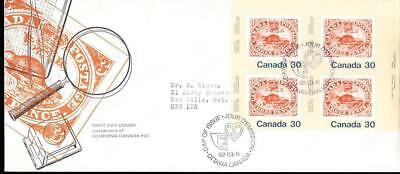 Canada FDC 1982 sc#909 Three-Penny Beaver pane of 4, Schering cachet with insert